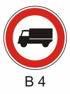 B 4 - zákaz vjezdu nákladních automobilů