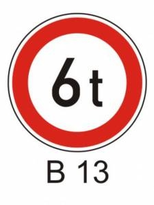 B 13 - zákaz vjezdu vozidel, jejichž hmotnost přesah. vyznačenou mez