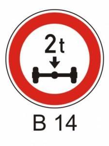 B 14 - zákaz vjezdu vozidel, jejichž hmotnost na nápravu přesah. vyznačenou mez
