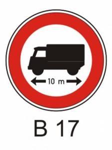 B 17 - zákaz vjezdu vozidel nebo souprav vozidel, jejichž délka přesah. v. mez