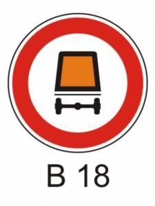 B 18 - zákaz vjezdu vozidel přepravujících nebezpečný náklad