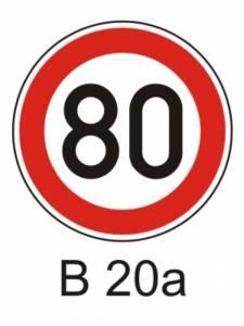 B 20a - nejvyšší dovolená rychlost
