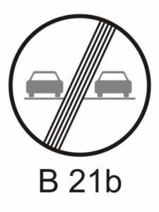 B 21b - zákaz předjíždění - konec
