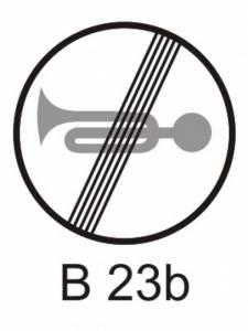 B 23b - zákaz zvukových výstražných znamení - konec