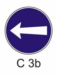 C 3b - přikázaný směr jízdy zde vlevo