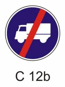 C 12b - přikázaný jízdní pruh - konec