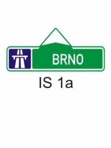 IS 1a - směrová tabule pro příjezd k dálnici (s jedním cílem)