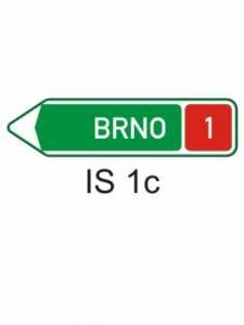 IS 1c - směrová tabule pro příjezd k dálnici (s jedním cílem)