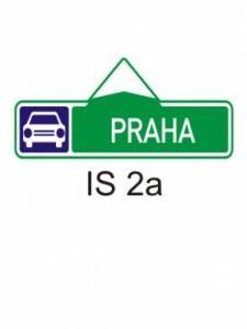 IS 2a - směrová tabule pro příjezd k silnici pro mot. vozidla (s jedním cílem)