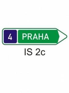 IS 2c - směrová tabule pro příjezd k silnici pro mot. vozidla (s jedním cílem)