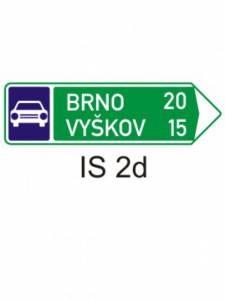 IS 2d - směrová tabule pro příjezd k silnici pro mot. vozidla (se dvěma cíli)