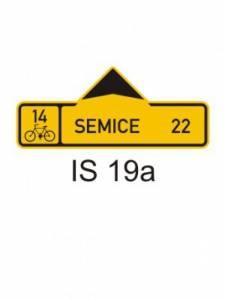IS 19a - směrová tabule pro cyklisty (s jedním cílem)