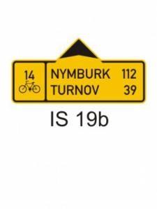 IS 19b - směrová tabule pro cyklisty (se dvěma cíli)