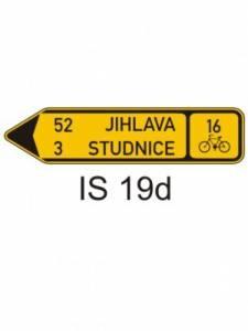 IS 19d - směrová tabule pro cyklisty (se dvěma cíli)