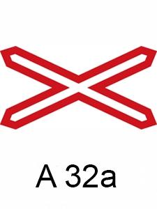 A 32a - výstražný kříž pro železniční přejezd jednokolejný