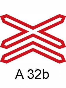 A 32b - výstražný kříž pro železniční přejezd vícekolejný